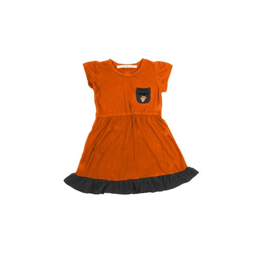 Chicka-d Toddler Girls' Oklahoma State University Cap Sleeve Ruffle Dress