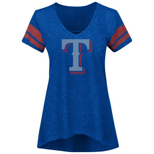 Majestic Women's Texas Rangers Check the Tape V-neck T-shirt