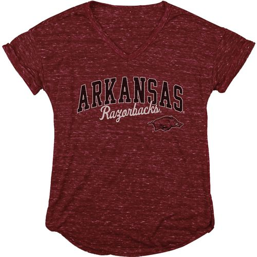 Blue 84 Women's University of Arkansas Dark Confetti V-neck T-shirt