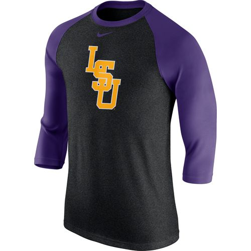 Nike Men's Louisiana State University 3/4-Length Sleeve Logo Raglan T-shirt