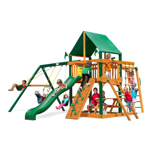 Gorilla Playsets Navigator Swing Set With Timber Shield And Deluxe Vinyl Canopy