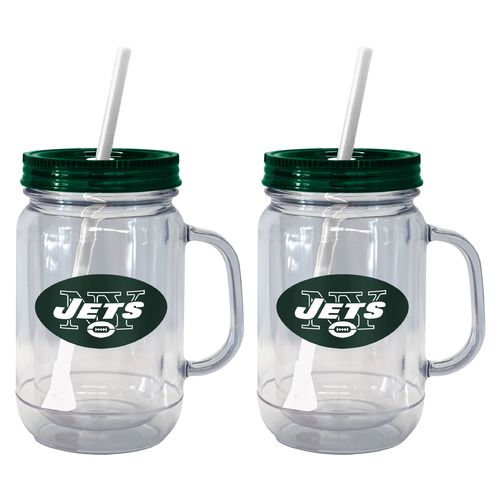 Boelter Brands New York Jets 20 oz. Handled Straw Tumblers 2-Pack