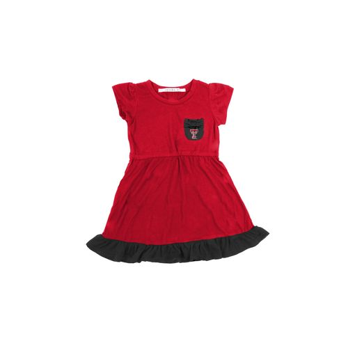 Chicka-d Toddler Girls' Texas Tech University Cap Sleeve Ruffle Dress