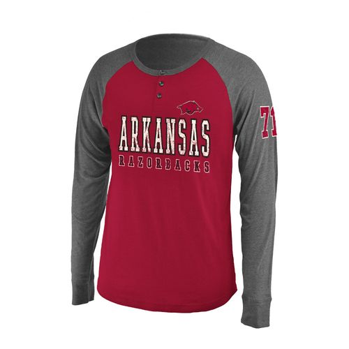 Colosseum Athletics Men's University of Arkansas Spotter Long Sleeve Henley Shirt