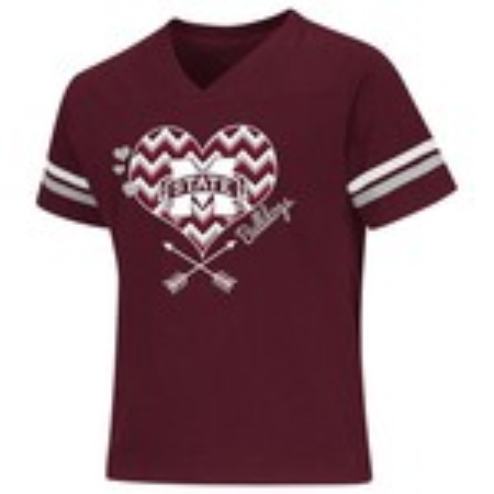 Colosseum Athletics Girls' Mississippi State University Football Fan T-shirt