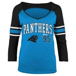 5th & Ocean Clothing Juniors' Carolina Panthers Established 3/4 Sleeve T-shirt