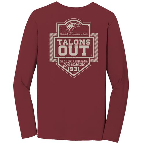 Image One Men's University of Louisiana at Monroe Finest Shield Comfort Color Long Sleeve T-shir