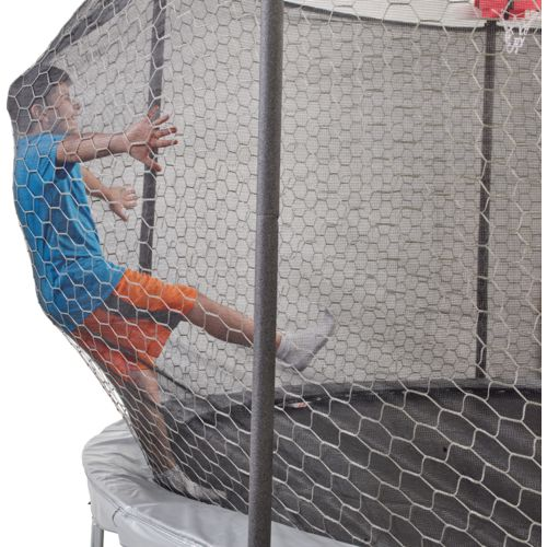 Jump Zone 14 foot Round Trampoline and Double Net Enclosure with Dunkzone Hoop - view number 4