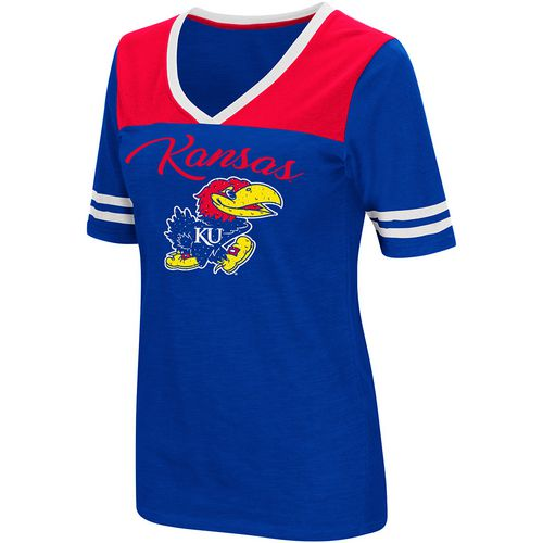Colosseum Athletics Women's University of Kansas Twist 2.1 V-Neck T-shirt