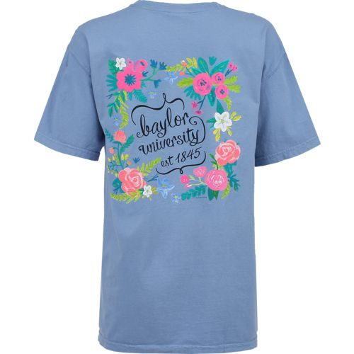 New World Graphics Women's Baylor University Comfort Color Circle Flowers T-shirt