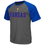 Colosseum Athletics Men's University of Kansas Rider Short Sleeve Poly Raglan T-shirt