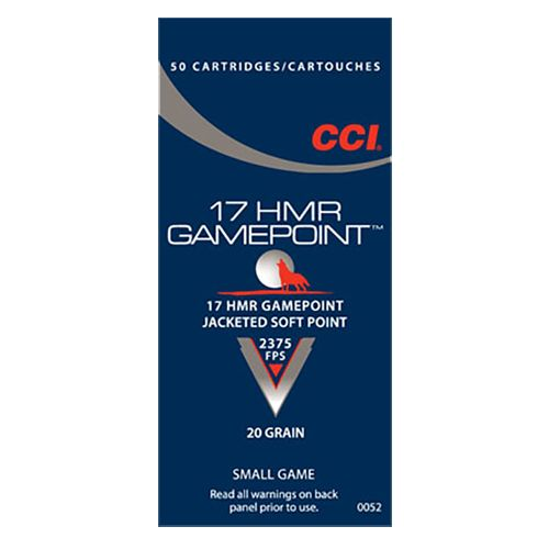 CCI Gamepoint 17 HMR Jacketed Soft-Point Ammunition