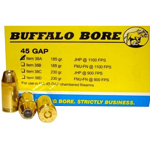Buffalo Bore .45 GAP JHP Centerfire Handgun Ammunition