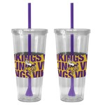 Boelter Brands Minnesota Vikings Bold Neo Sleeve 22 oz. Straw Tumblers 2-Pack