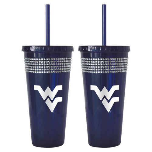 Boelter Brands West Virginia University 22 oz. Bling Straw Tumblers 2-Pack
