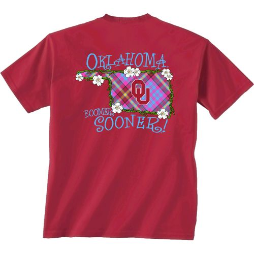 New World Graphics Women's University of Oklahoma Bright Plaid T-shirt