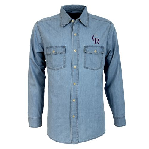 Antigua Men's Colorado Rockies Long Sleeve Button Down Chambray Shirt - view number 1