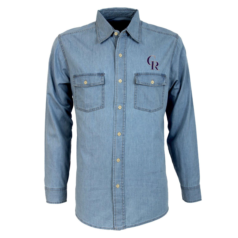 Antigua Men's Colorado Rockies Long Sleeve Button Down Chambray Shirt