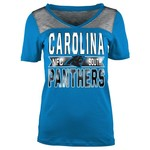 5th & Ocean Clothing Juniors' Carolina Panthers Foil and Space Dye Fan T-shirt