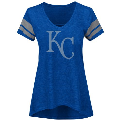 Majestic Women's Kansas City Royals Check the Tape V-neck T-shirt