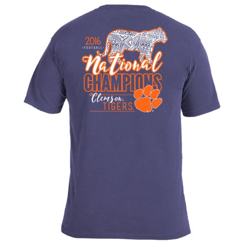 Image One Men's Clemson University 2016 National Champions Mascot Pattern Fill T-shirt