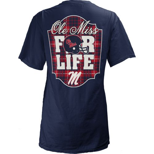 Three Squared Juniors' University of Mississippi Team For Life Short Sleeve V-neck T-shirt