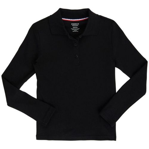 French Toast Girls' Long Sleeve Interlock Knit Uniform Polo with Picot Collar