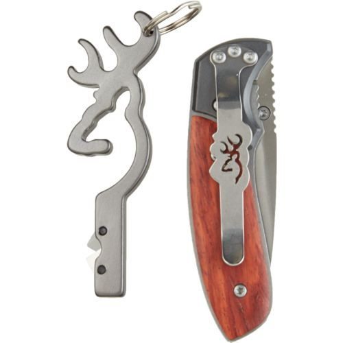 Browning Buck Mark Folding Knife and Knife Sharpener Keychain Combo