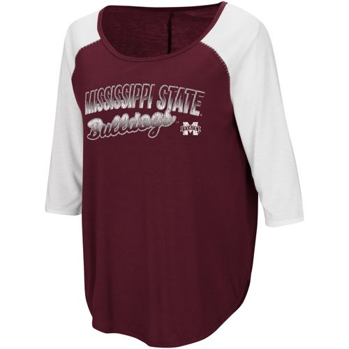 Colosseum Athletics Women's Mississippi State University Draw a Crowd Baseball T-shirt