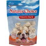 Nature's Choice Knotted Rawhide Dog Bones 18-Pack