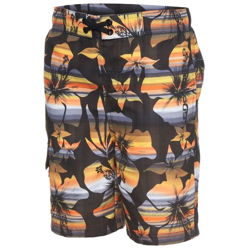O'Rageous Boys' Elastic Waist Ombre Hibiscus Print Boardshort
