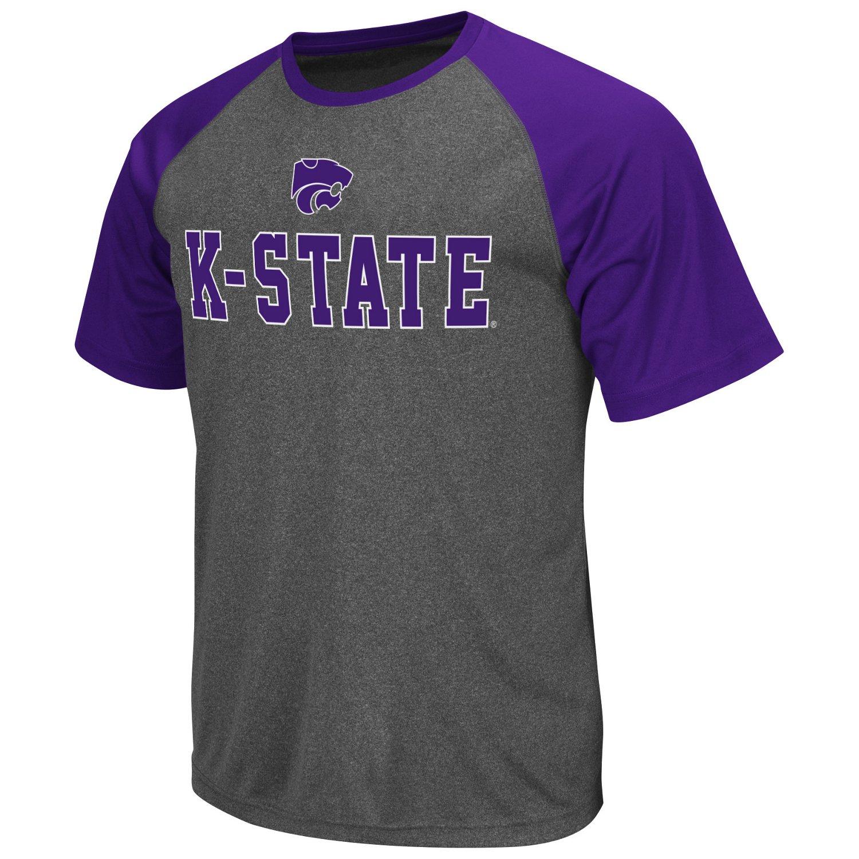 Colosseum Athletics Men's Kansas State University Rider Short Sleeve Poly Raglan T-shirt
