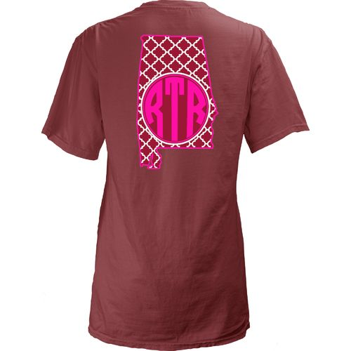 Three Squared Juniors' University of Alabama Quatrefoil State Monogram T-shirt