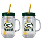 Boelter Brands Green Bay Packers 20 oz. Handled Straw Tumblers 2-Pack