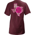 Three Squared Juniors' Texas State University Moonface Vee T-shirt