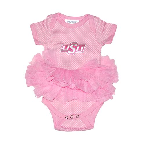 Two Feet Ahead Infant Girls' Oklahoma State University Pin Dot Tutu Creeper