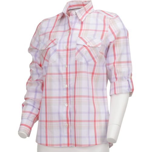 Magellan Outdoors Women's Cute Catch Long Sleeve Roll Up Plaid Fishing Top