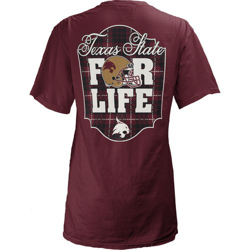 Three Squared Juniors' Texas State University Team For Life Short Sleeve V-neck T-shirt
