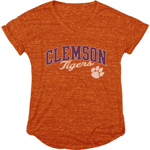 Blue 84 Women's Clemson University Dark Confetti V-neck T-shirt