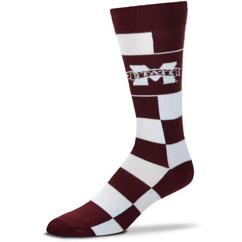 For Bare Feet Mississippi State University Jumbo Check Thin Knee High Dress Socks