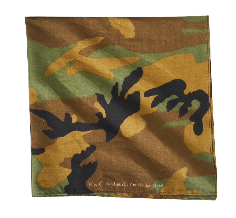 ZANHeadgear® Woodland Camouflage Premium Bandanna