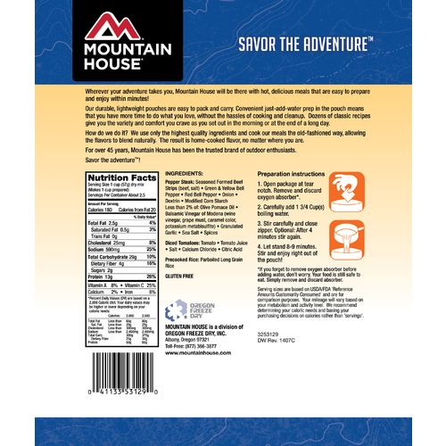 Mountain House® Freeze-Dried Italian-Style Pepper Steak with Rice and Tomatoes Pouch - view number 2