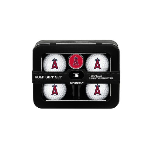 Team Golf Los Angeles Angels 4-Ball Tin Gift Set