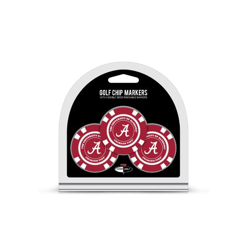 Team Golf University of Alabama Poker Chip Golf Ball Marker Set 3-Pack