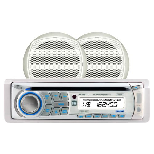 "Dual Marine 240W CD Player with Two 6.5"" Speakers and NOAA Weather"