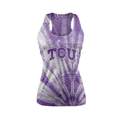 Chicka-d Women's Texas Christian University Tie Dye Racerback Tank Top