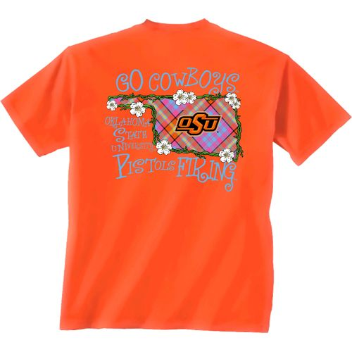 New World Graphics Women's Oklahoma State University Bright Plaid T-shirt