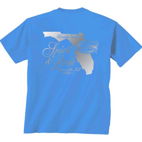 New World Graphics Women's University of Florida Silver State Distress T-shirt