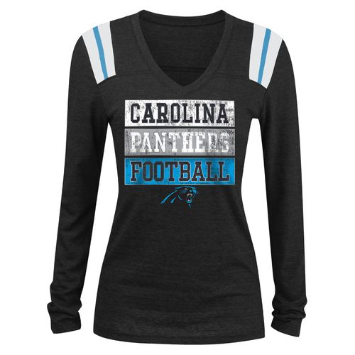 5th & Ocean Clothing Juniors' Carolina Panthers Block Lettering Long Sleeve T-shirt