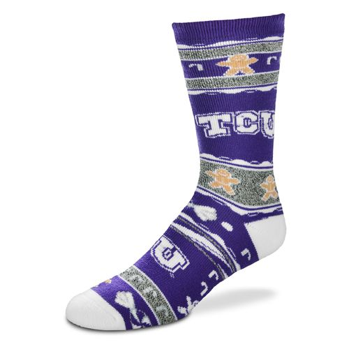 FBF Originals Men's Texas Christian University Christmas Sweater Socks